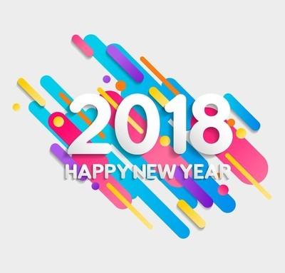 新年快乐2018多彩几何形状卡片