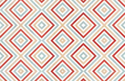 米色、 红色和蓝色颜色的几何图案