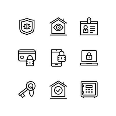 安全和保护简单的矢量图标用于 web 和移动设计包3