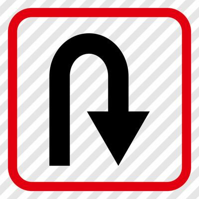 在框架中的 U 转矢量图标