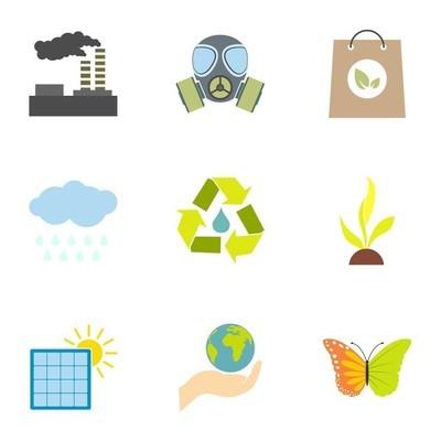 环境的图标集,平面样式