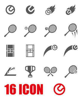 Vector grey tennis icon set