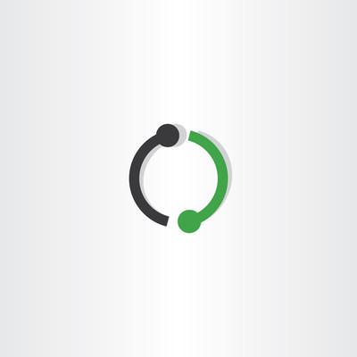 logo 字母 o 绿色黑色图标标志矢量
