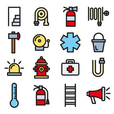 消防员, 消防队和应急图标集