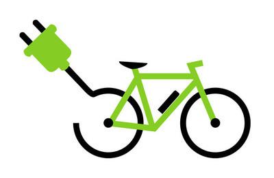 现代电动自行车图标显示自行车与电池和插头