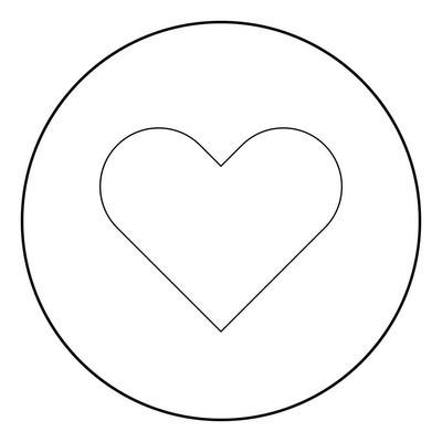 圆形或圆形矢量图中的心形图标黑颜色