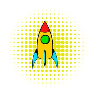 火箭图标,漫画风格