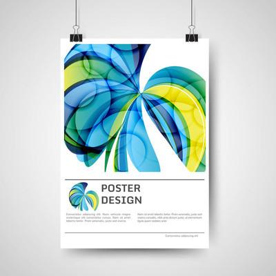 抽象线条和波浪的彩色海报设计模板