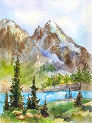 山水水彩山水。复古画