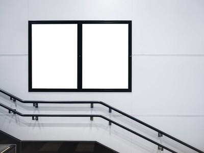 模拟海报模板媒体广告在公共建筑空间与楼梯