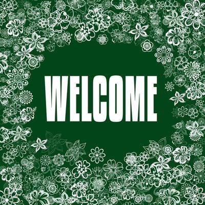 绿色横幅欢迎鲜花