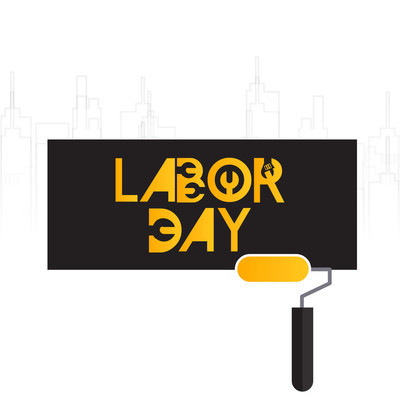 劳动日排版卡片的创意设计, 矢量插画