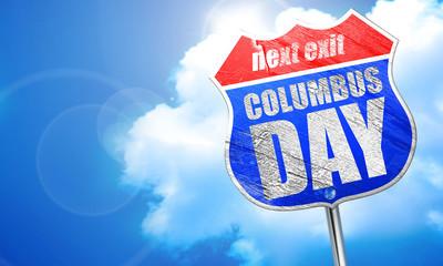哥伦布日,3d 渲染,街头的蓝色标志