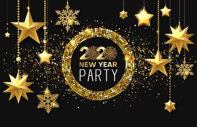 2020年新年晚会。闪亮的海报或黄金邀请卡