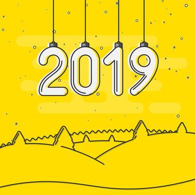 黄色快乐新年2019年卡与冬季景观