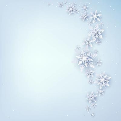 冬季背景与美丽的雪花。圣诞装饰