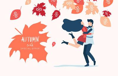秋季销售。促销海报与迷恋夫妇和树叶