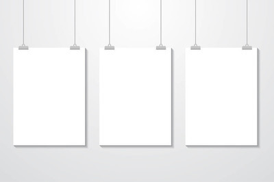模拟逼真的白色海报悬挂。空心矢量海报模板