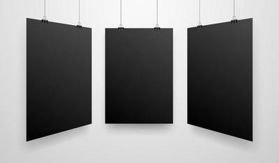 模拟逼真的黑色海报悬挂。空心矢量海报模板