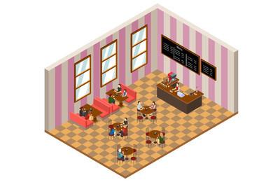 等距的咖啡馆或餐厅的设计