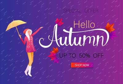 秋天销售促销海报与女孩与伞