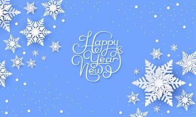 蓝色新年贺卡与雪花