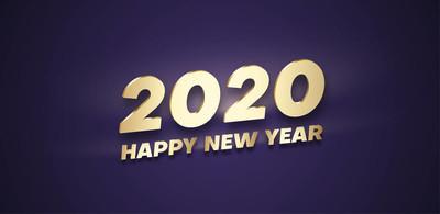紫色新年快乐2020横幅与金黄闪亮的数字