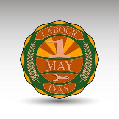 劳动节矢量绿色徽章