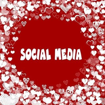 红心框架与社会媒体文本在红色背景