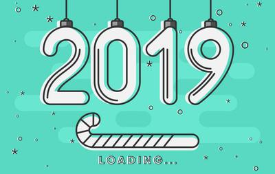 圣诞和新年2019年加载。创意贺卡