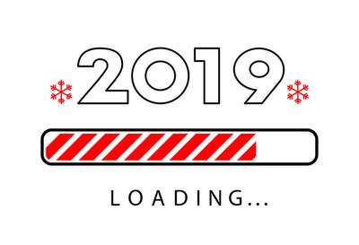 加载2019年新年创意海报与进度条