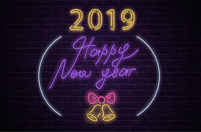 快乐的新年2019尼恩发光海报与圣诞钟声