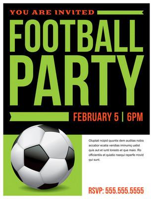 足球足球聚会传单邀请图
