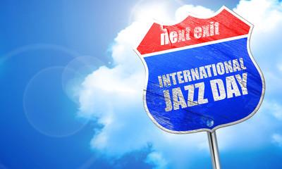 国际爵士乐日,3d 渲染,街头的蓝色标志