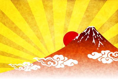 富士日出贺卡背景