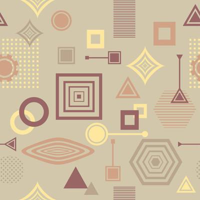 在后现代的孟菲斯风格咖啡颜色抽象无缝模式