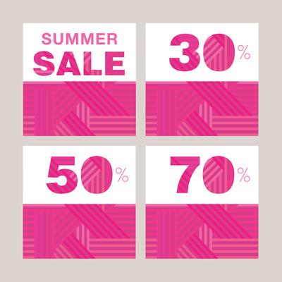 Summer sale. Promotional poster set