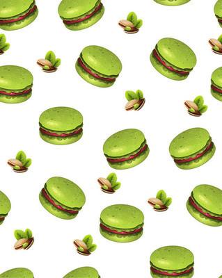 模式马卡龙。图案饼干。杏仁海绵蛋糕。饼干