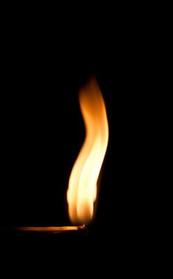 火焰上易燃匹配的火焰