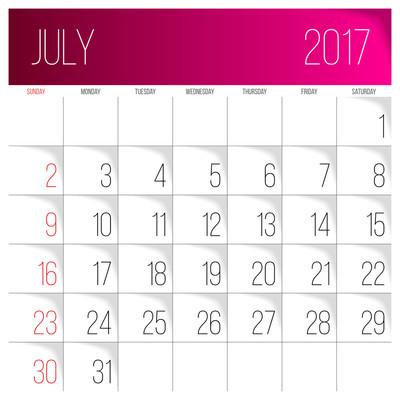 7 月 2017年日历模板