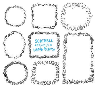 一套手绘画框, 矢量设计元素集合
