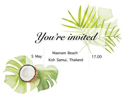 水彩框架与绿色和蕨类叶子和椰子。邀请空白