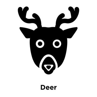 Deer icon vector isolated on white background, logo concept of Deer sign on transparent background, filled black symbol