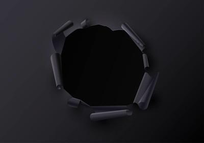 黑色创意模板与撕破的纸装饰