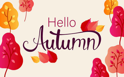 你好, 秋天。五颜六色的海报与树和叶子