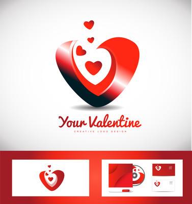 情人节的心爱标志图标设计