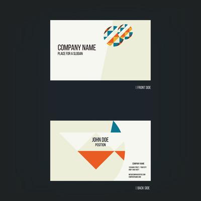 橙蓝抽象名片矢量设计模板