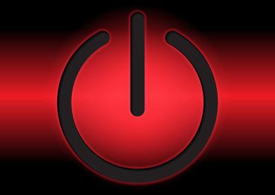 电源在红色背景上签名