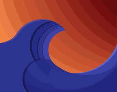 海波浪壁纸矢量图