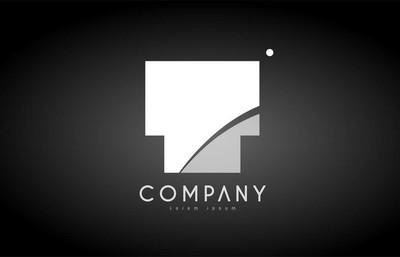 T 字母字母黑色白色标志图标设计